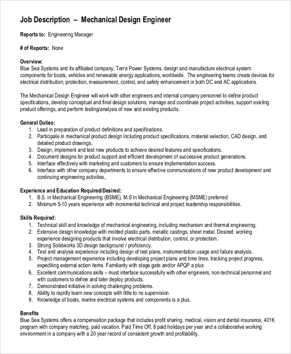 High Quality Mechanical Design Engineer Job Description