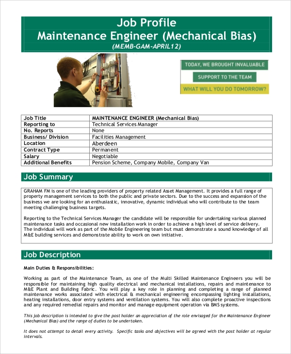 Sample Mechanical Engineering Job Description   Examples In Pdf
