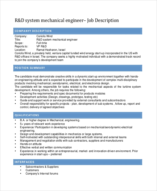 Sample Mechanical Engineering Job Description - 10+ Examples in PDF