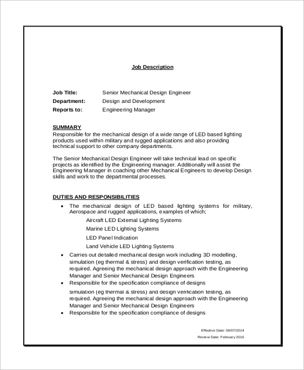 senior mechanical design engineer job description