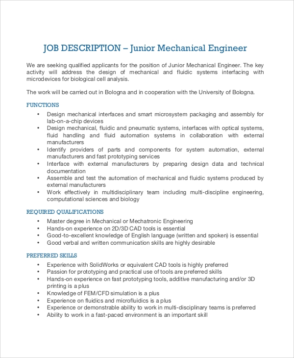 junior mechanical engineer job description