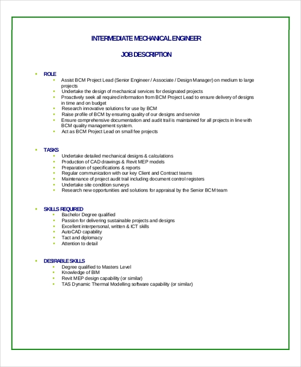 Sample Engineer Job Description Job Description Sample Pdf
