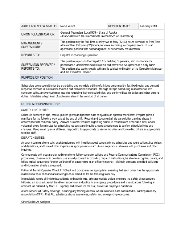 Sample Dispatcher Job Description   Examples In Word Pdf