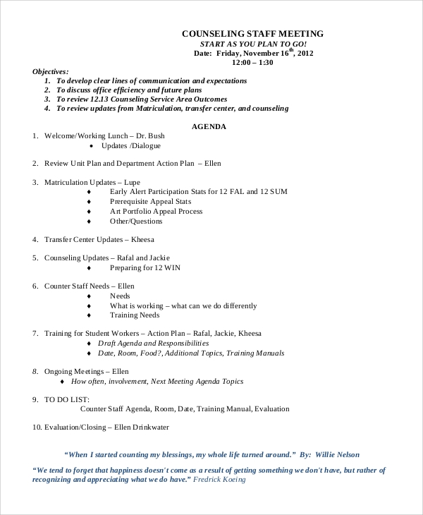 Meeting Agenda. Team Meeting Agenda Template Free