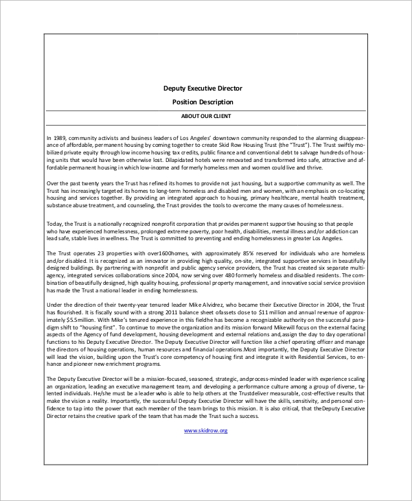Sample Executive Director Job Description 10 Examples in Word PDF – Executive Director Job Description