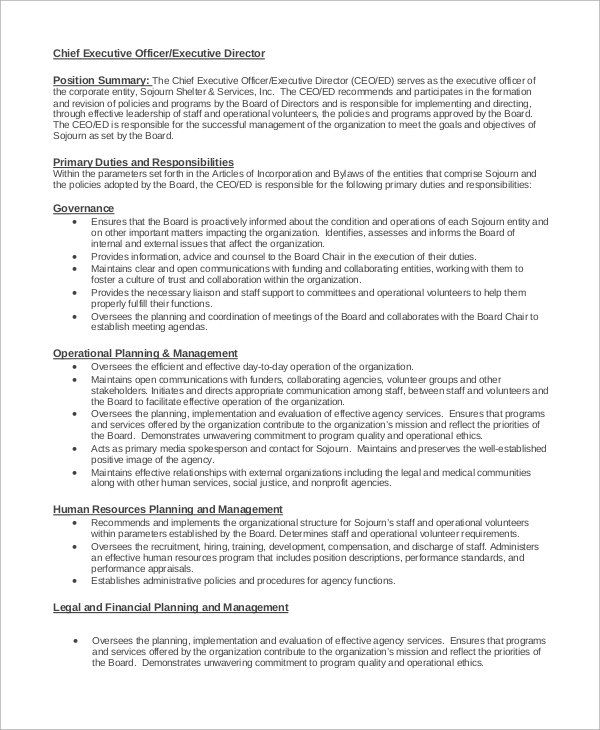 Sample Executive Director Job Description   Examples In Word Pdf