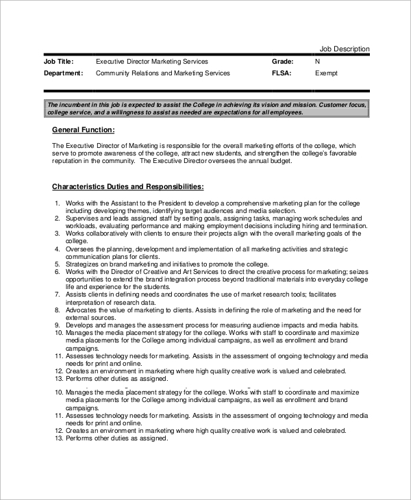 Sample Executive Director Job Description - 10+ Examples In Word, Pdf