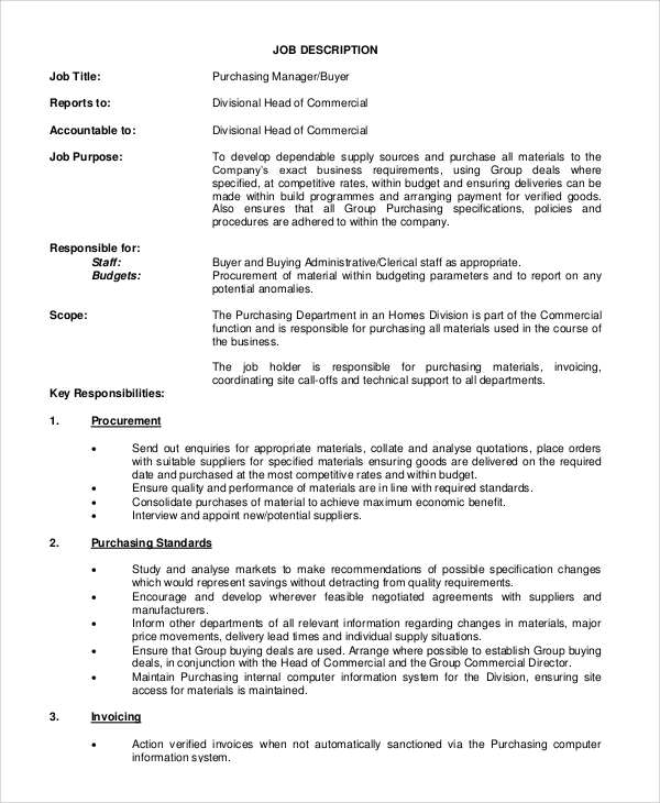 Purchasing Agent Job Description Job Brief Purchasing Manager Job