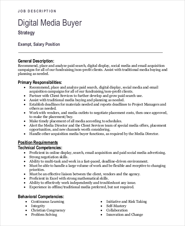 Media Planner Job Description Fields Related To Media Planner Buyer