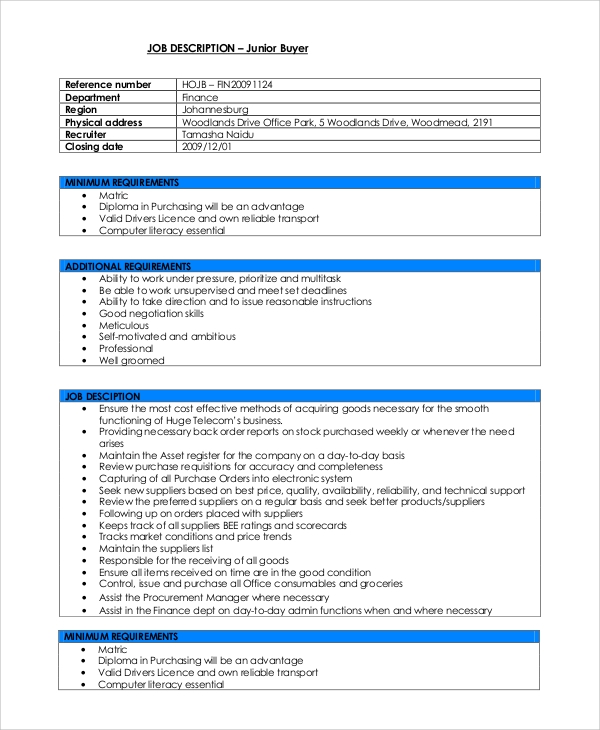Sample Buyer Job Description   Examples In Pdf Word