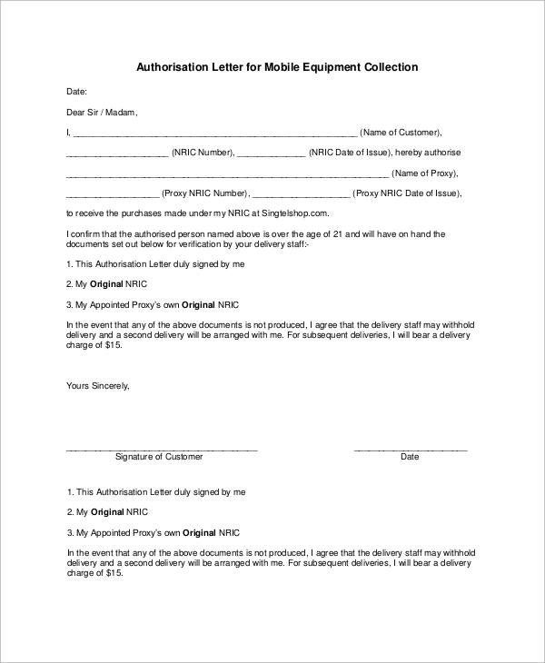 authorisation letter for mobile equipment collection