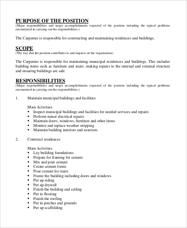 Sample Carpenter Job Description   Examples In Word Pdf