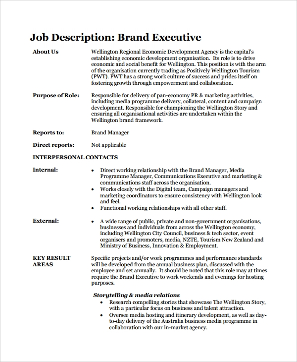 sample brand executive manager job description