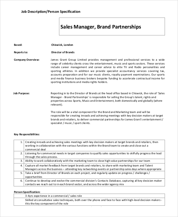 Sample Brand Manager Job Description 9 Examples in PDF – Sales Director Job Description