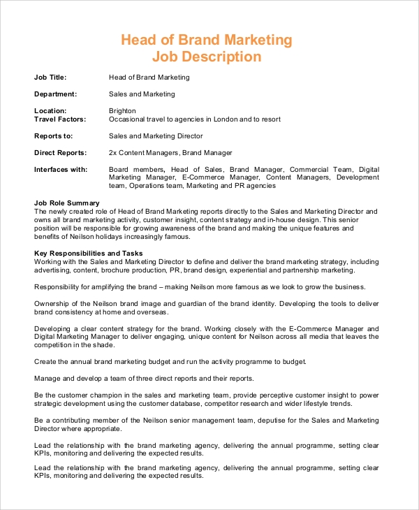 head of brand marketing job description