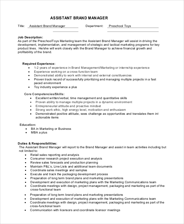 job description assistant brand manager