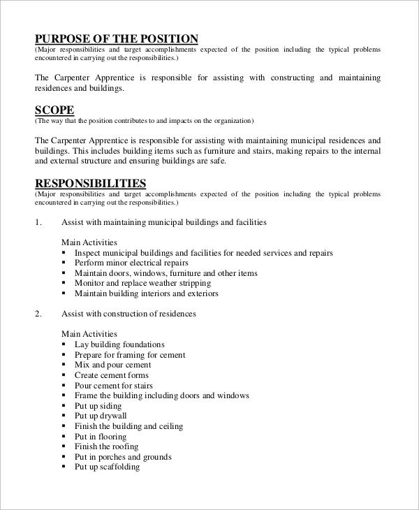 carpenter apprentice job description