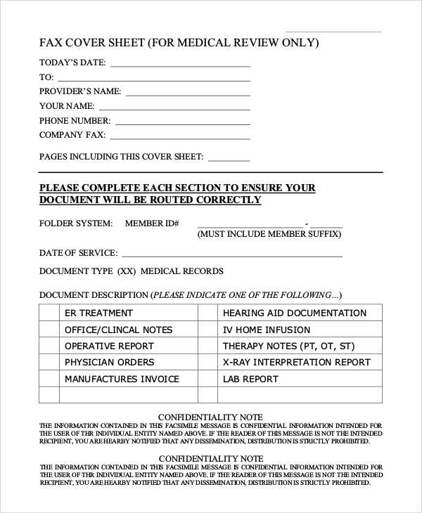 generic medical fax cover sheet