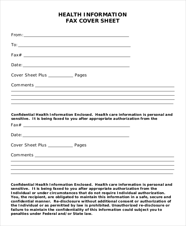 generic health information fax cover sheet