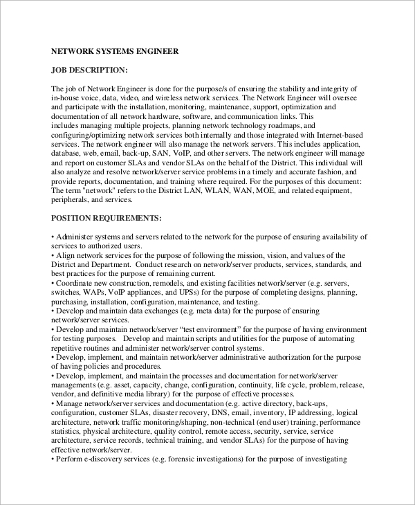 Sample Network Engineer Job Description   Examples In Word Pdf