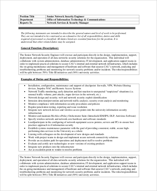 sample network engineer job description