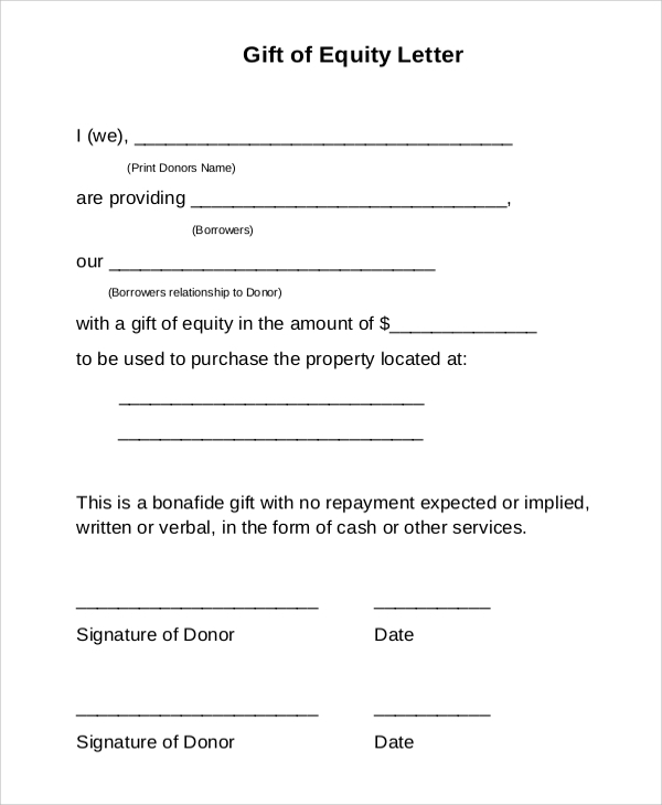 Sample Gift Letter 9 Examples in Word PDF – Gift Letter