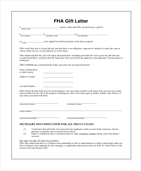gift letter for mortgage 2016 9 sample gift letters pdf word sample templates 1259