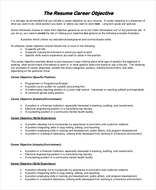 general career objective resume resume - Professional Objective For Resume