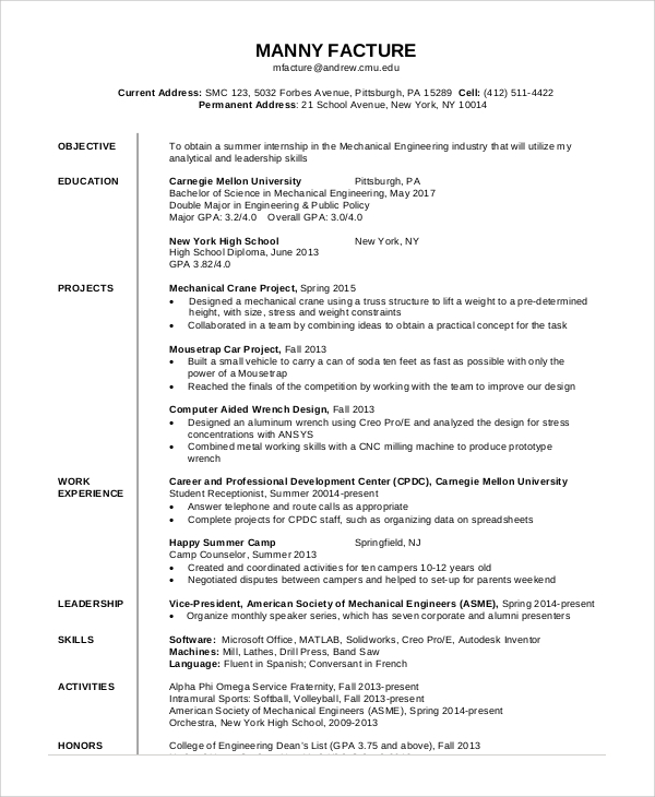 28 mechanical engineering resume objective 8 career