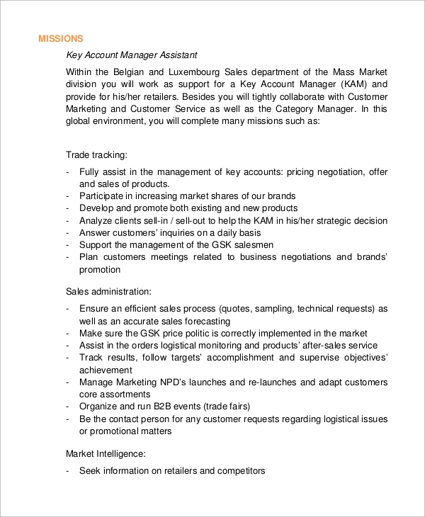 Trade Marketing Job Description | Resume Cv Cover Letter