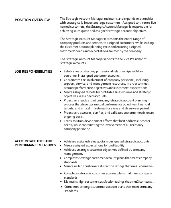 Elegant Strategic Account Manager Job Description Format