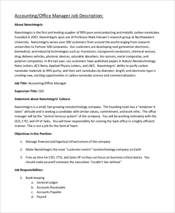 Sample Accounting Manager Job Description 10 Examples in Word PDF – Cto Job Description
