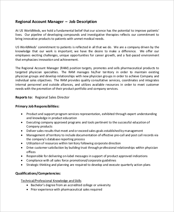 regional account manager job description