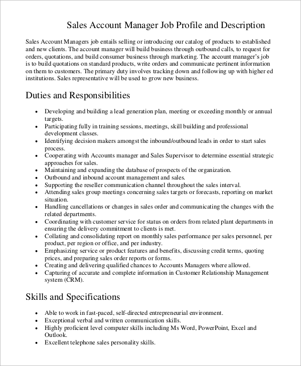 sales account manager job description