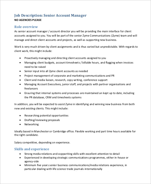 senior account manager job description