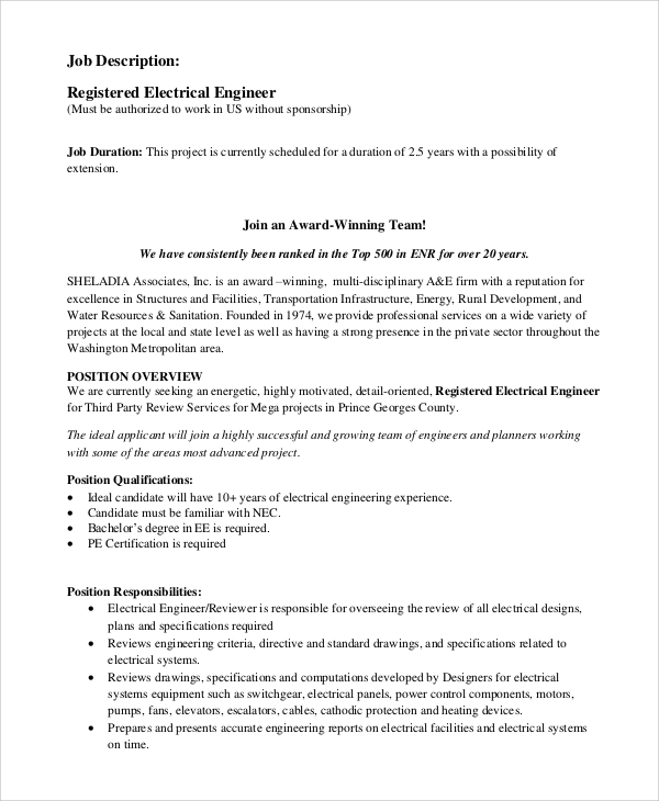 Sample Electrical Engineer Job Description 10 Examples in PDF Word – Job Description of Electrical Engineer