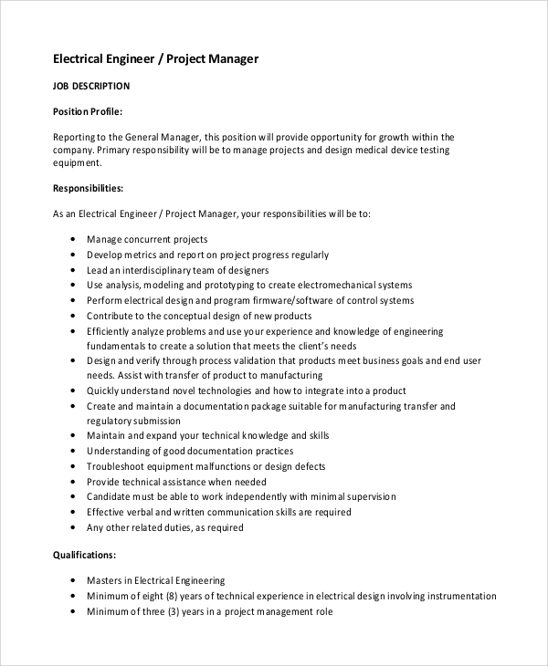 electrical engineer project manager job description
