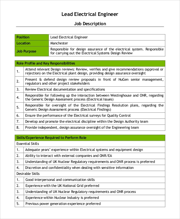 lead electrical engineer job description job description