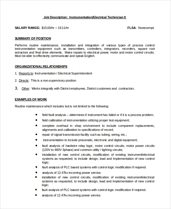 job description of electrical instrumentation electrical engineer