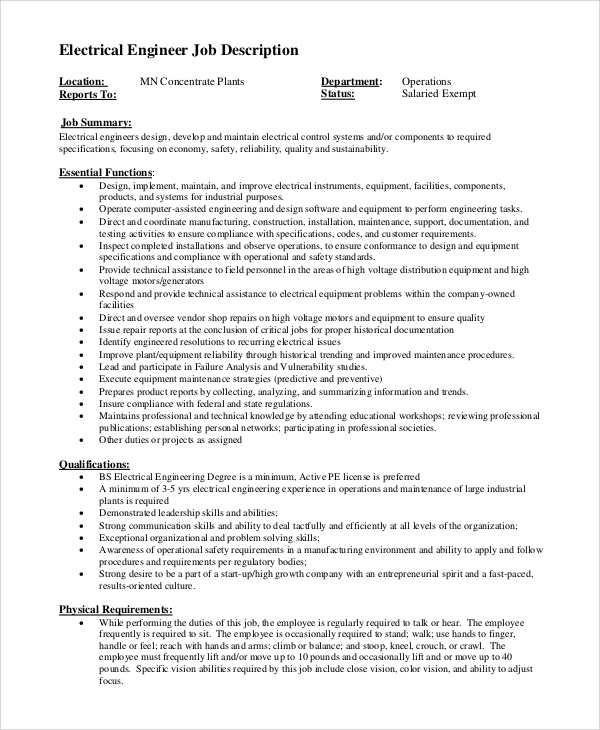 job description of electrical engineer in construction
