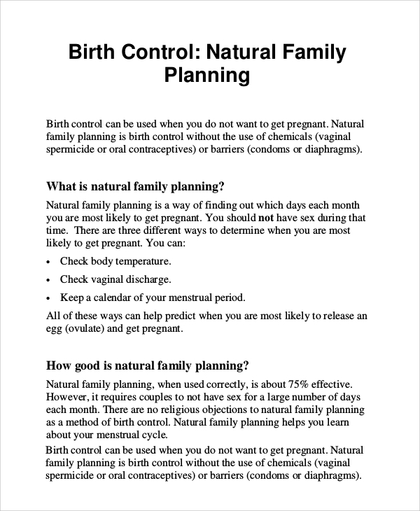 natural family planning birth control