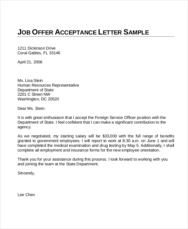 sample offer of employment