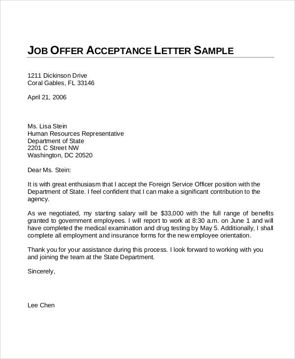 job offer acceptance letter