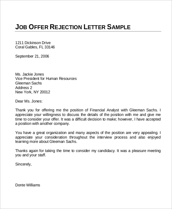 Sample Offer Letter 10 Examples in Word PDF – Offer Letter Example