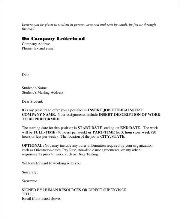 student job offer letter