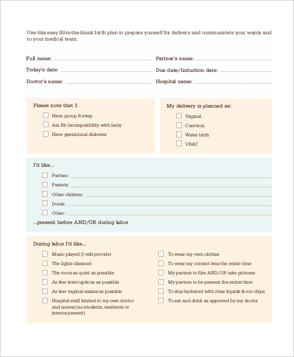 cesarean birth plan template - 9 sample birth plans sample templates