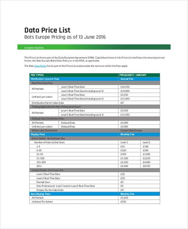 data price list