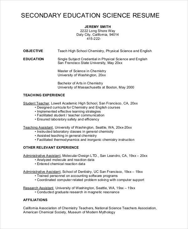 high school science teacher resume - Sample Educational Resume