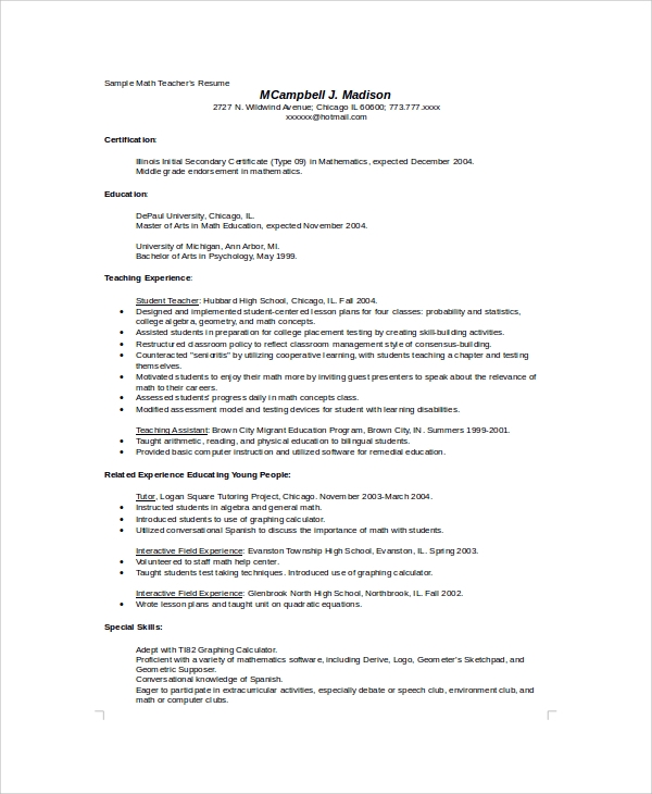 Sample High School Resume - 8+ Examples In Word, Pdf