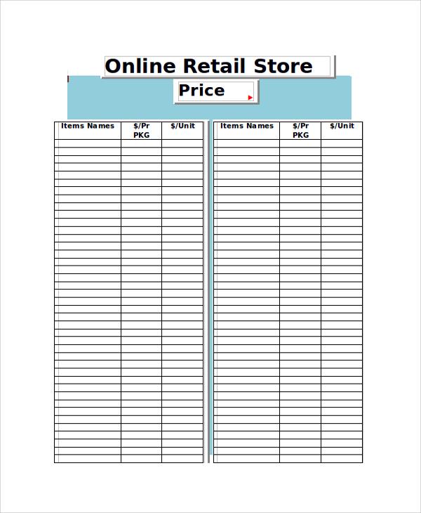 online retail store price list